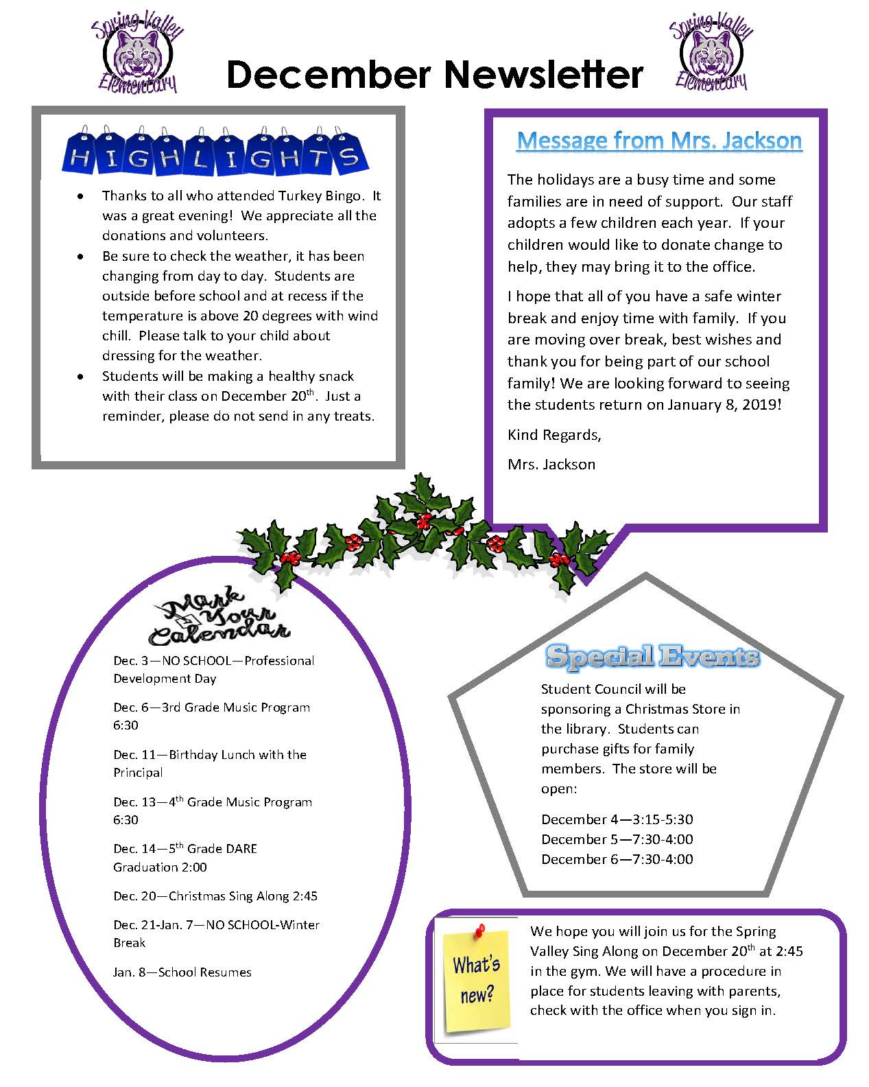 Picture of December 2018 Newsletter