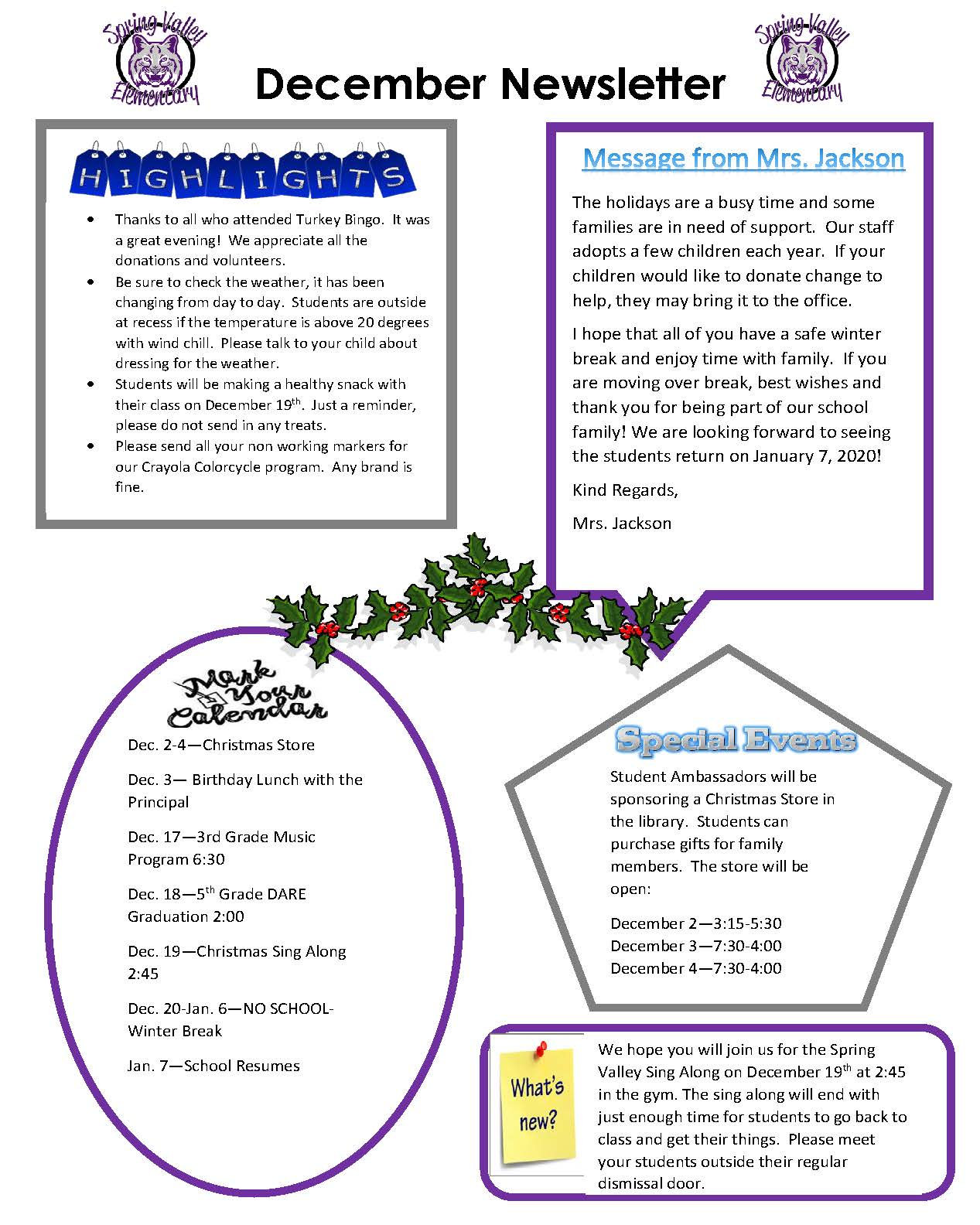 Photograph of December Newsletter
