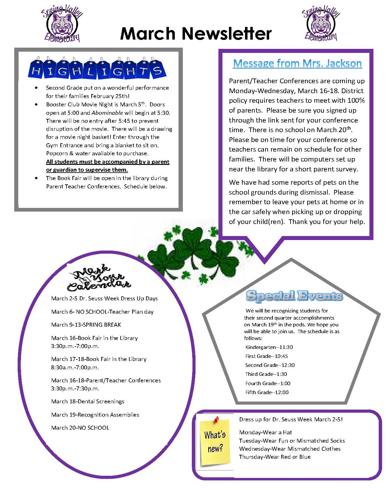 photograph of March Newsletter
