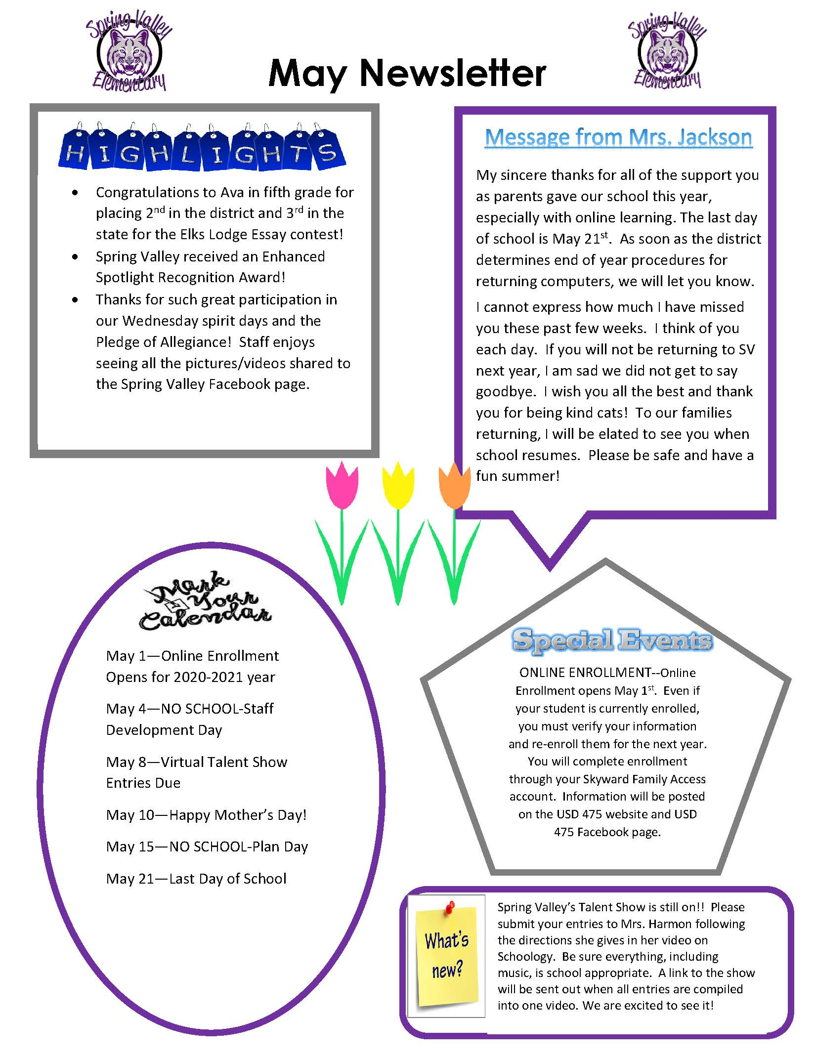 Photograph of May Newsletter